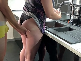 Fucked his go steady with while washing dishes